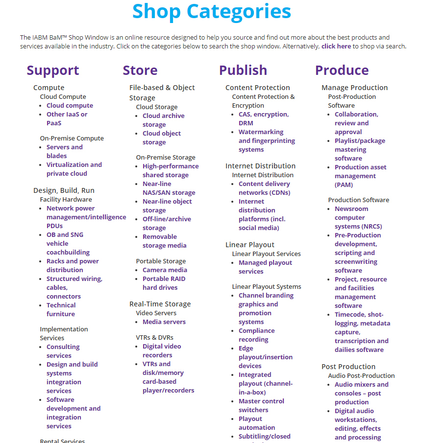 BAM Shop Categories